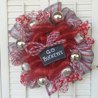 Ohio State Buckeyes Wreath Ohio State Decor Buckeyes Red Silver Buckeye Christmas Wreath