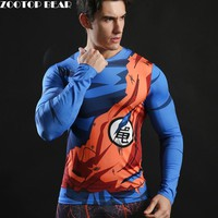 Dragon ball Men Long Sleeve T shirt Compression T-shirt Fitness Bodybuilding Camiseta Long Sleeve Anime Tee Funny ZOOTOP BEAR