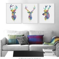 Triptych Original Watercolor Deer Head Animals  Art Print Poster Wall Pictures Living Room Canvas Painting No Frame Home Decor
