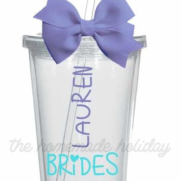Bridal party Handwriting title and name Tumbler