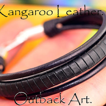 B-028 Sterling Silver & Kangaroo Leather New Wristband Surf Men Bracelet .
