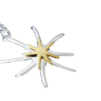 Dichroic Starfish Pendant Necklace For Women