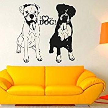 Wall Decal Vinyl Sticker Decals Art Decor Design Funny Dogs Sign I Love My Dogs Pets Animals Dorm Bedroom House Style Kids Nursery (r1021)