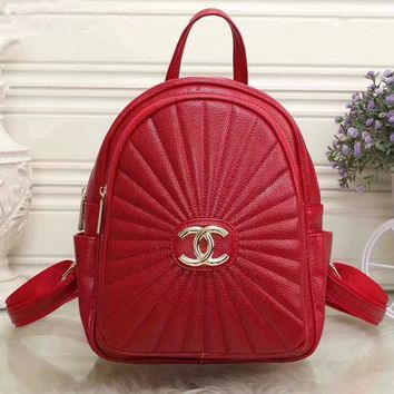 CHANEL Women Casual School Bag Cowhide Leather Backpack