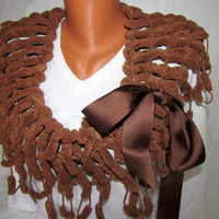 Earthy brown Scarf, winter, light Brown, ponpon, hand knitting, very soft, warm and beautiful accessory for girls and women