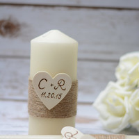 Rustic Unity Candle Set Ivory Personalized Unity Wedding Candles Burlap Ceremony