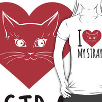 Cute 'I Heart My Stray' Cat Rescue T-Shirt and Accessories