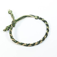 Hemp Mens Bracelet Kumihimo Camouflage Green & Brown Thick Man's Jewelry