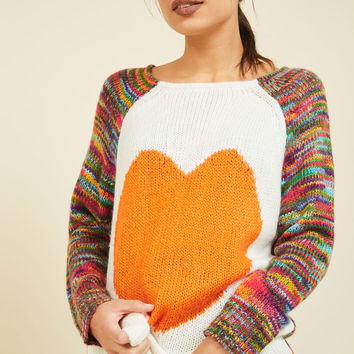Think Long and Heart Sweater | Mod Retro Vintage Sweaters | ModCloth.com