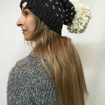 Knit Slouchy Hat Beanie Pom Pom Fair Isle Charcoal And Beige Warm And Cozy