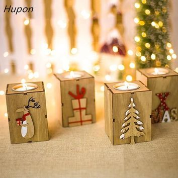 Navidad Wood Candle Holders Tealight Candlesticks Lantern Vintage Christmas Decorations for Home New Year Party Decor Gifts