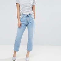 ASOS PETITE FLORENCE Authentic Straight Leg Jeans in Cambridge Light Mid Wash at asos.com