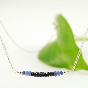 Sapphire Necklace Sterling Silver - Sapphire Rondelles Necklace - Row of Hand Cut Sapphires