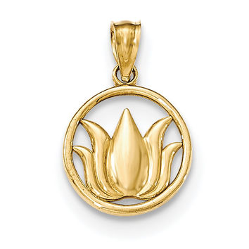 14k Gold Polished Lotus Flower in Circle Pendant YC1240