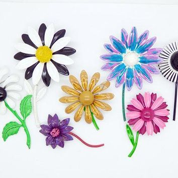 Enamel Flowers with Stems Lot, 7 pins, Flower Brooches