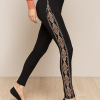 Monoreno Side Abstract Leggings - Black