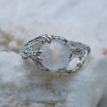 "Sterling Silver Rainbow Moonstone Ring ""Ariel"" MADE TO ORDER, moonstone engagement ring,delicate ring,tree branch ring"