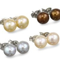 Sterling Silver Cool Tones Freshwater Cultured Pearl Earrings 7-Pair Set (7-7.5mm)