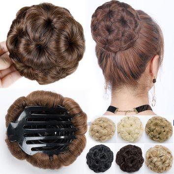 Claw Clip In Bun Wave Curly Hair Piece Chignon Updo Cover as real Hair Extension