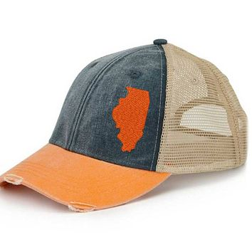 Illinois  Trucker Hat - Distressed Snapback -off-center state