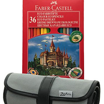 Bundle - 2 items: Faber Castell 36 Ecopencils Colored Pencils Set with Sharpener and Zenartis Pencil Wrap Roll-Up Case