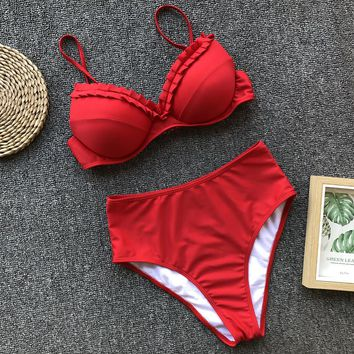 New swimsuit female bikini solid color pleated hard bag sexy swimsuit