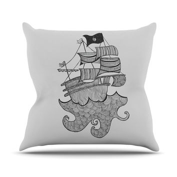 "Belinda Gilles ""Ships Ahoy"" Gray Nautical Throw Pillow"
