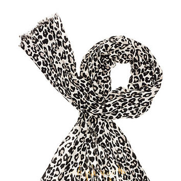 Kate Spade Cheetah Print Wool Oblong Scarf Pumice ONE