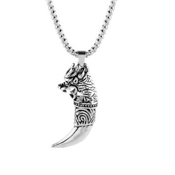 Tibet Silver Alloy Fangs Wolf Tooth Pendant Necklace