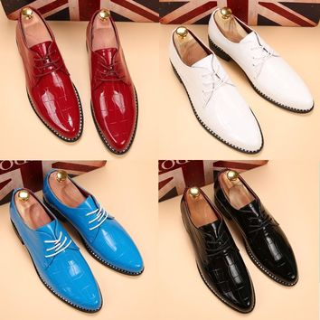 Fashion Lattice fringe Men's patent leather shoes casual leather shoes red dress shoes business&Wedding Shoes size 38-43AA-49
