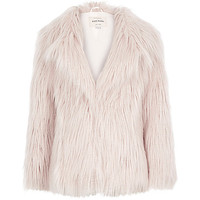 Girls pink Mongolian faux-fur coat