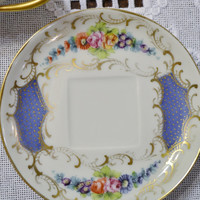 Vintage Limoges Footed Teacup and Saucer Floral Design Hand Painted Signed PanchosPorch
