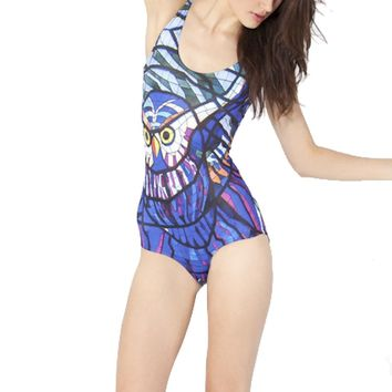 Owl Stained Glass Animal Digital Print Scoop Neck Sleeveless Bodysuit for Women in Blue
