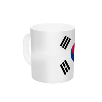 "Bruce Stanfield ""Flag of Korea"" White Digital Ceramic Coffee Mug"