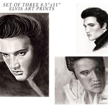 Set of THREE different Elvis Presley Art Prints, Elvis Portrait, Elvis Presley Poster Print, Elvis Presley Wall Decor, 8.5 x 11 inches