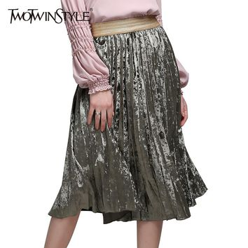 [TWOTWINSTYLE] Spring Long Velvet Elastic Waist Pleated Skirts Women New Fashion Streetwear 3 Colors