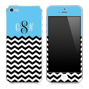 Blue Black and White Chevron Pattern Custom Monogram Skin for the iPhone 3, 4/4s or 5