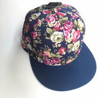 Floral Flat Billed Baseball Hat