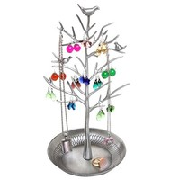 Antique Birds Tree Stand Jewelry Display Necklace Earring Bracelet Organizer Holder (Silvery)