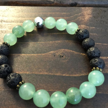 Bracelet, Aventurine, Lava Rock (8 mm beads) and 1 ml of Essential Oil for Diffusing/Aromatherapy