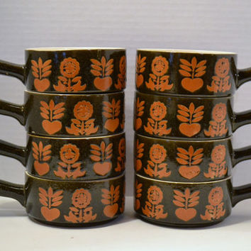 Vintage Soup Mug Set of Eight Retro Brown Orange Flower Handmade PanchosPorch