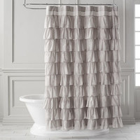 Ruffled Dove Shower Curtain