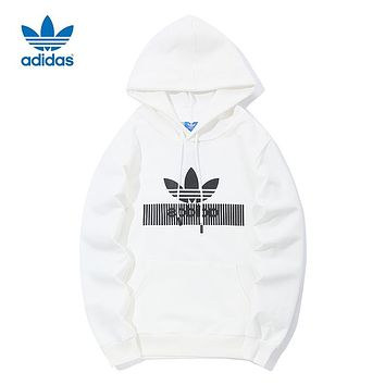 ADIDAS Clover Tide brand men and women long sleeve hooded hoodie White