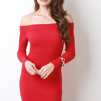 Ribbed Knit Bardot Long Sleeve Bodycon Dress