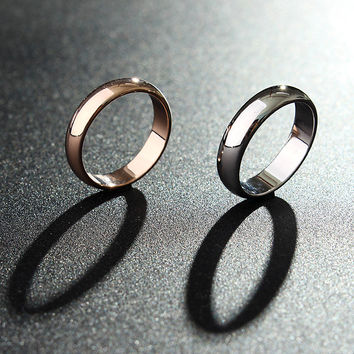 1pc Gold Silver Smooth Women Men Couple Ring Jewelry Dating Wedding Gift