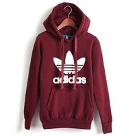 """Adidas"" men and women tide hooded sweatshirt jumper Wine red"