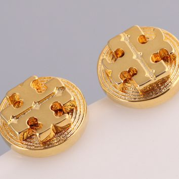 Tory burch jewelry gold fashion round ear stud earrings
