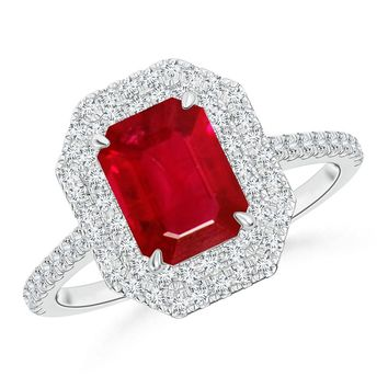 Double Row Diamond Framed Claw Ruby Vintage Ring