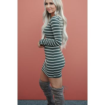 Sufficient Striped Dress (Olive)