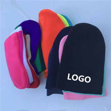 Winter Beanie Hats Printing Embroider LOGO Customized Fashion Warm Cap Unisex Elasticity Knit Beanie Hats